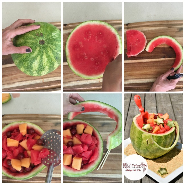 What a fun and simple idea for fruit salad! This shovel and pail watermelon is perfect for holidays, summer picnics, and Ocean birthday parties like Finding Dory or whatever! KidFriendlyThingsToDo.com