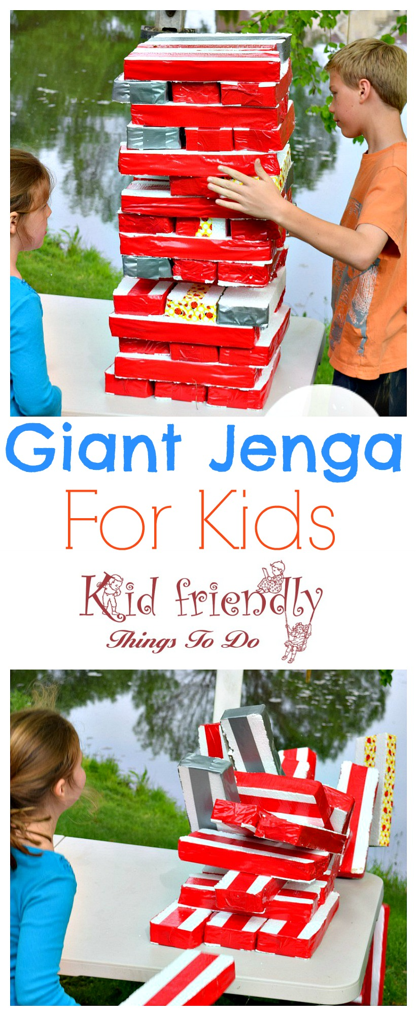 Giant Jenga for Kids. Great outdoor summer party game for the kids. Perfect for school parties or family fun! Easy DIY - www.kidfriendlythingstodo.com