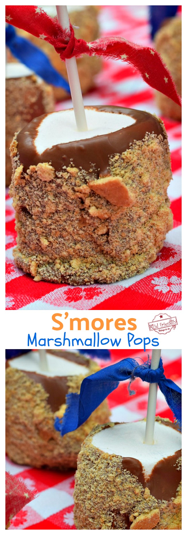 S'more Marshmallow Pops on table