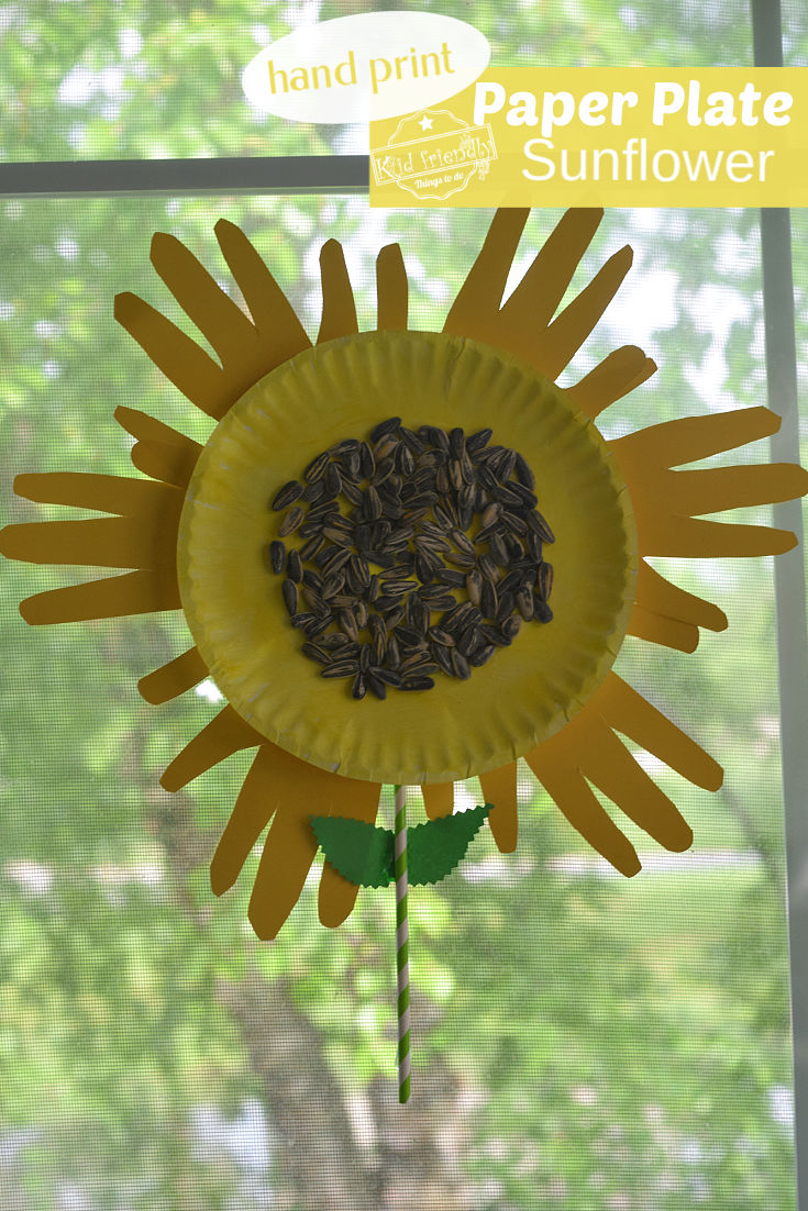 hand print paper plate sunflower craft