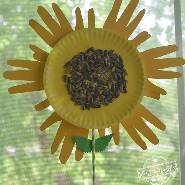 Paper Plate Sunflower Hand Print Craft for Kids