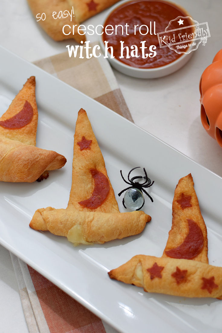 Halloween party food crescent roll witch hats