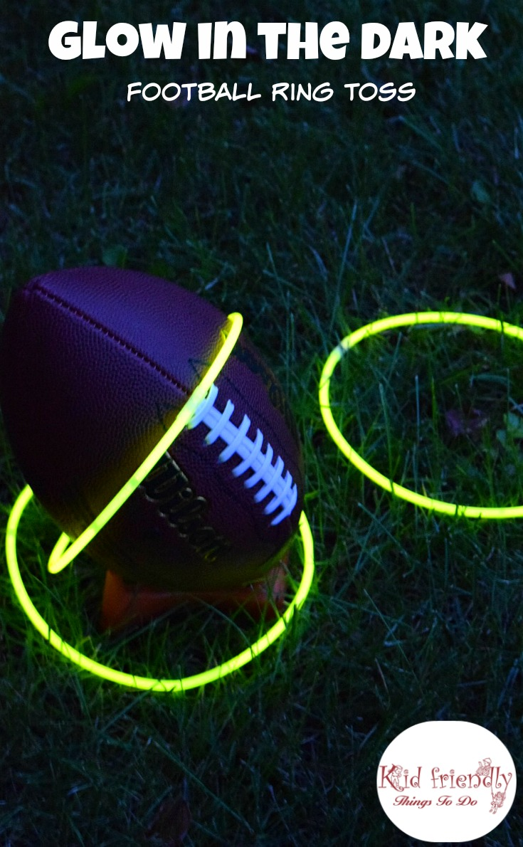 Glow in the dark Football ring toss! Ideas for a Football party with kids - www.kidfriendlythingstodo.com