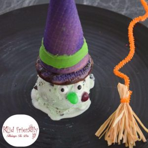 Fun Melting Witch Ice Cream Treat Idea for Kids on Halloween!