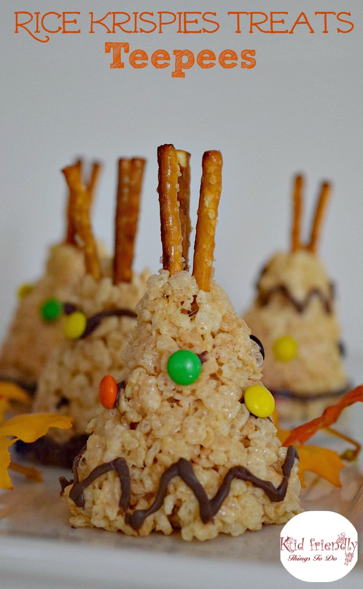 Rice krispies teepee treat for a kid friendly thanksgiving perfect for thanksgiving or a native american fun food idea for kids this is forumfinder Choice Image