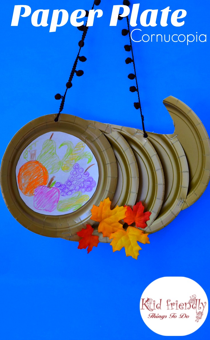 Paper Plate Cornucopia Craft for a Kid's Thanksgiving Craft - great for preschool, elementary school & for a home decoration - www.kidfriendlythingstodo.com