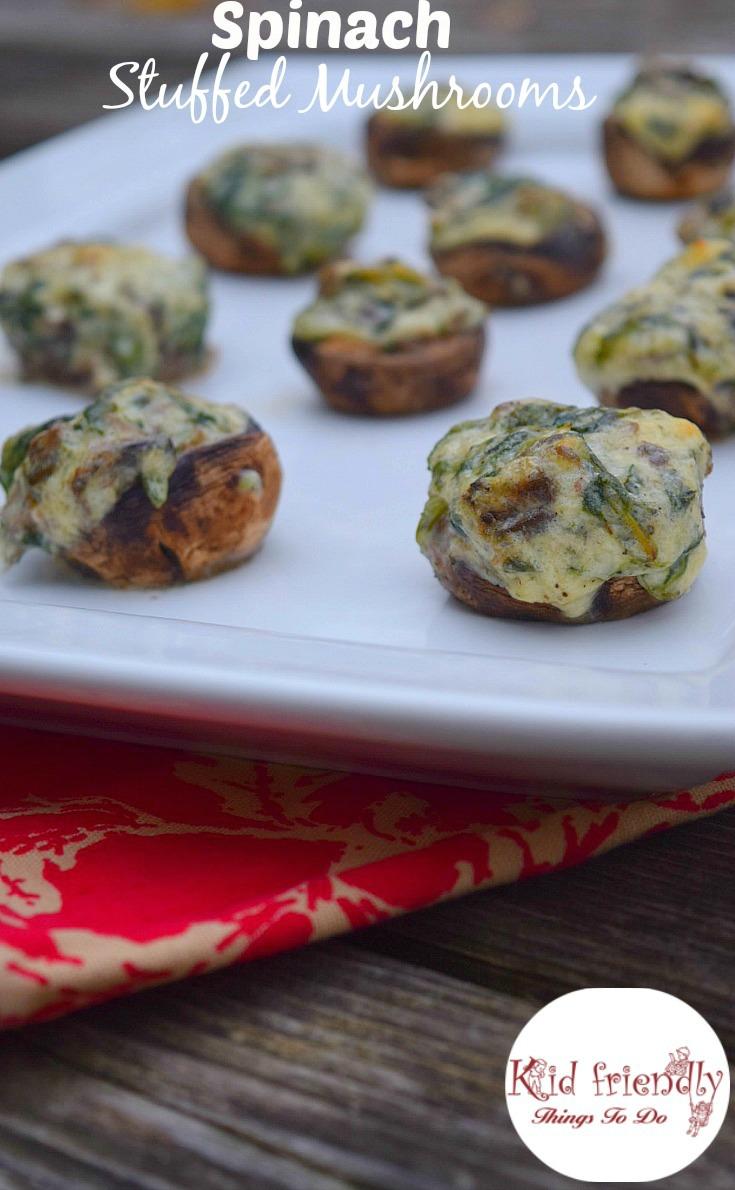 The best ever Spinach Stuffed Mushroom Appetizer Recipe - www.kidfriendlythingstodo.com