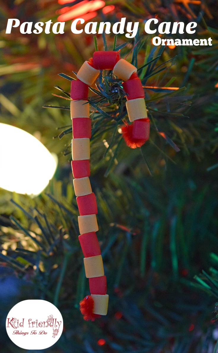 Pasta Candy Cane Ornament Craft For Kids At Christmas
