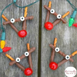 Rudolph Chocolate and Cherry Pretzel Treats for Christmas