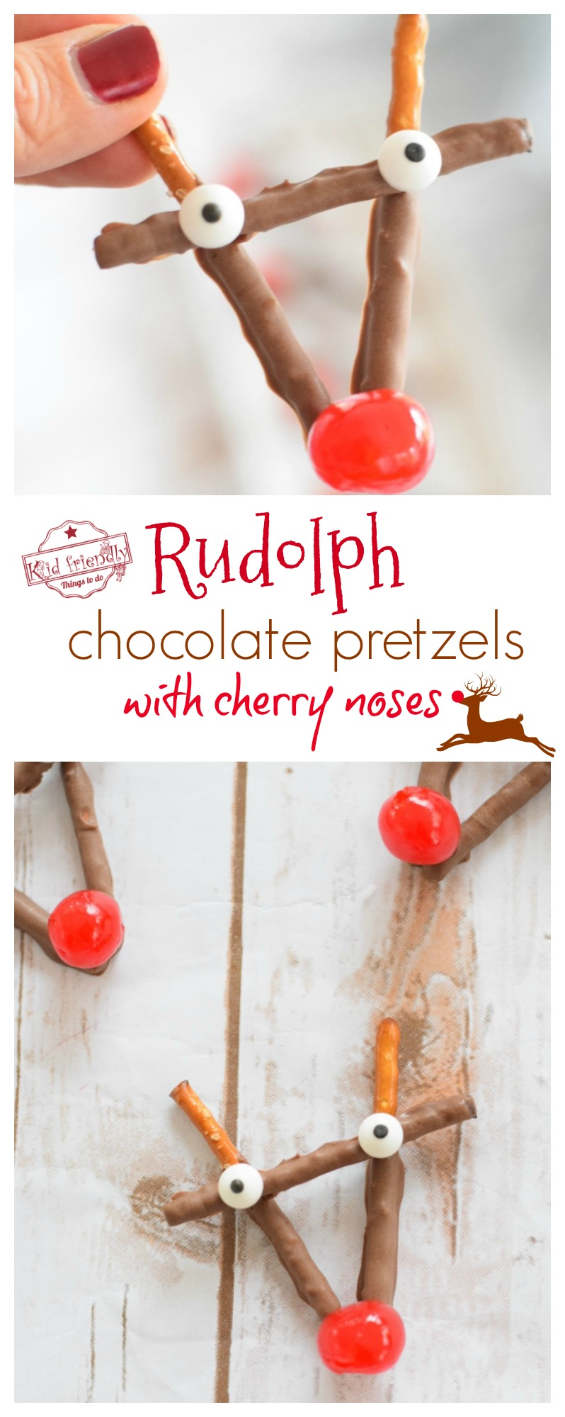 Rudolph Chocolate and Cherry Pretzel Treats for Christmas - easy to make. A fun red cherry nose Rudolph treat for the kids and yummy for everyone! www.kidfriendlythingstodo.com
