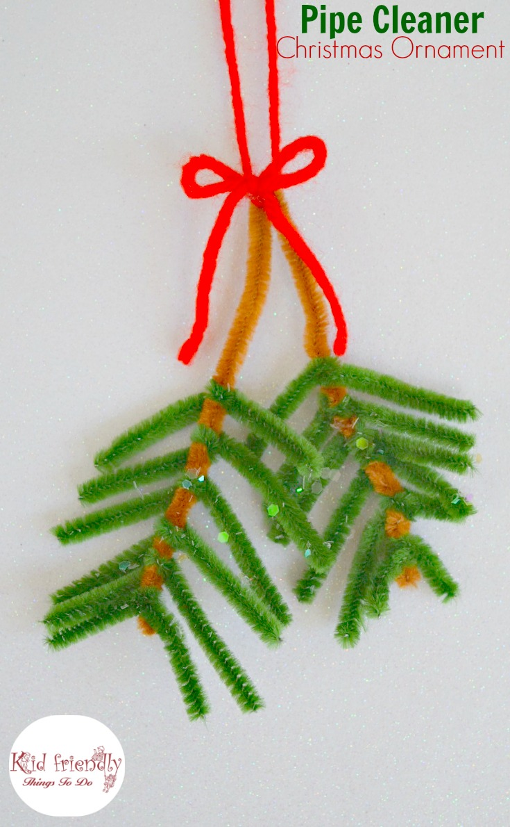 Pipe Cleaner Pine Bough Christmas Ornament to make with the Kids - www.kidfriendlythingstodo.com