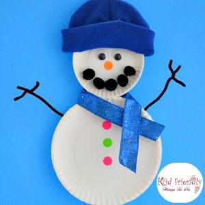 Easy Paper Palate Snowman Craft for Kids to Make - great for preschool, and elementary kids - www.kidfriendlythingstodo.com