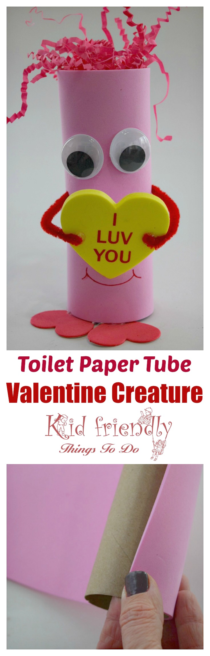 So cute! Look at this easy and  adorable Valentine Creature! Perfect for preschool kids and elementary school Valentine's Day party craft. You can get everything at the Dollar Store! www.kidfriendlythingstodo.com