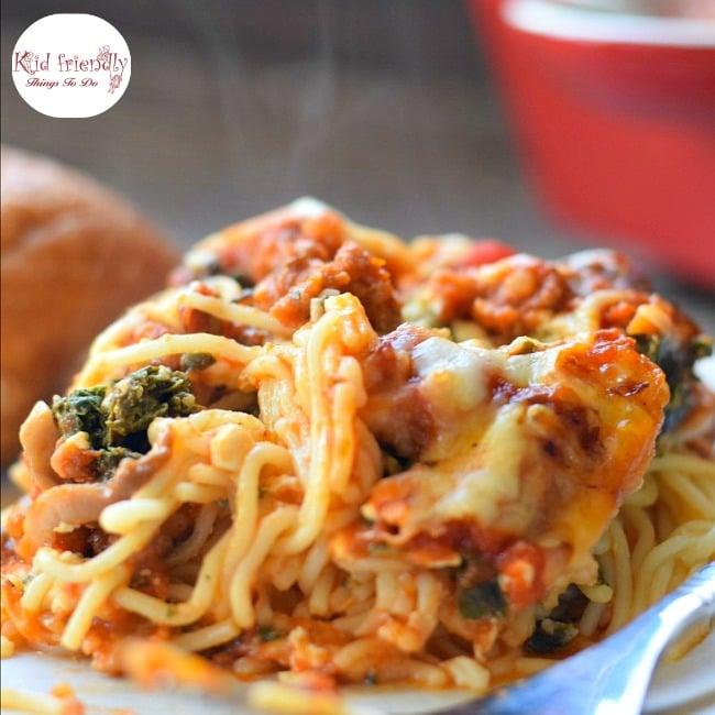 Spinach & Mushroom Baked Spaghetti Casserole Recipe | Kid Friendly Things To Do