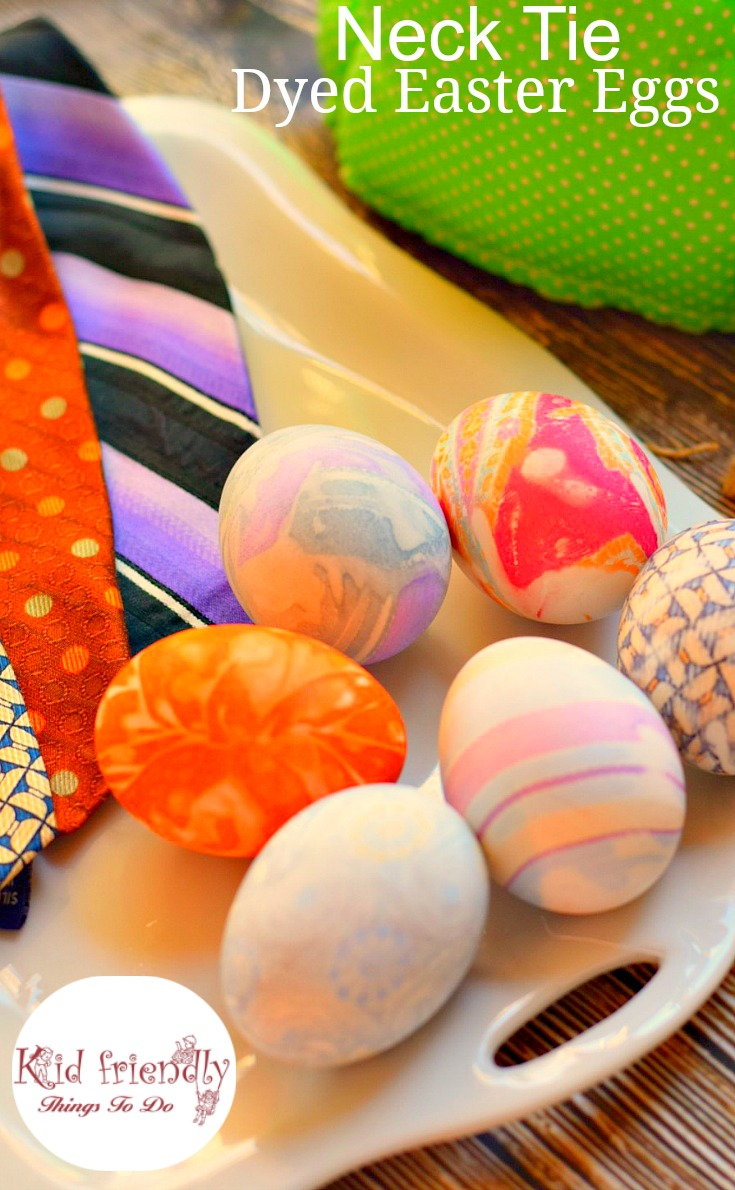 So cool! How to dye Easter Eggs with a Neck Tie. This is such a fun Easter craft to do with the kids! www.kidfriendlythingstodo.com