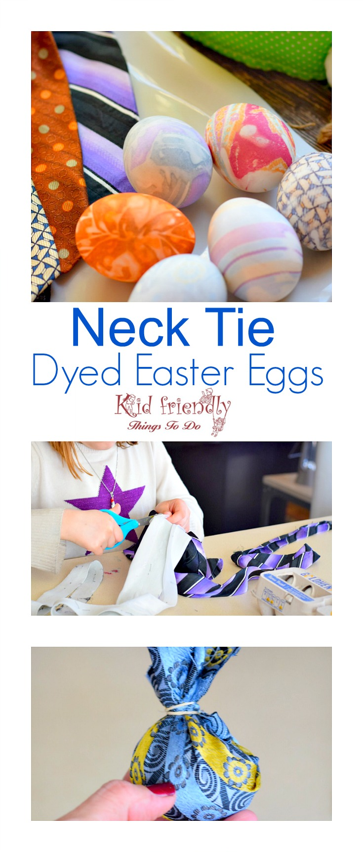 How to dye Easter Eggs with a Neck Tie. This is such a fun Easter craft to do with the kids! www.kidfriendlythingstodo.com