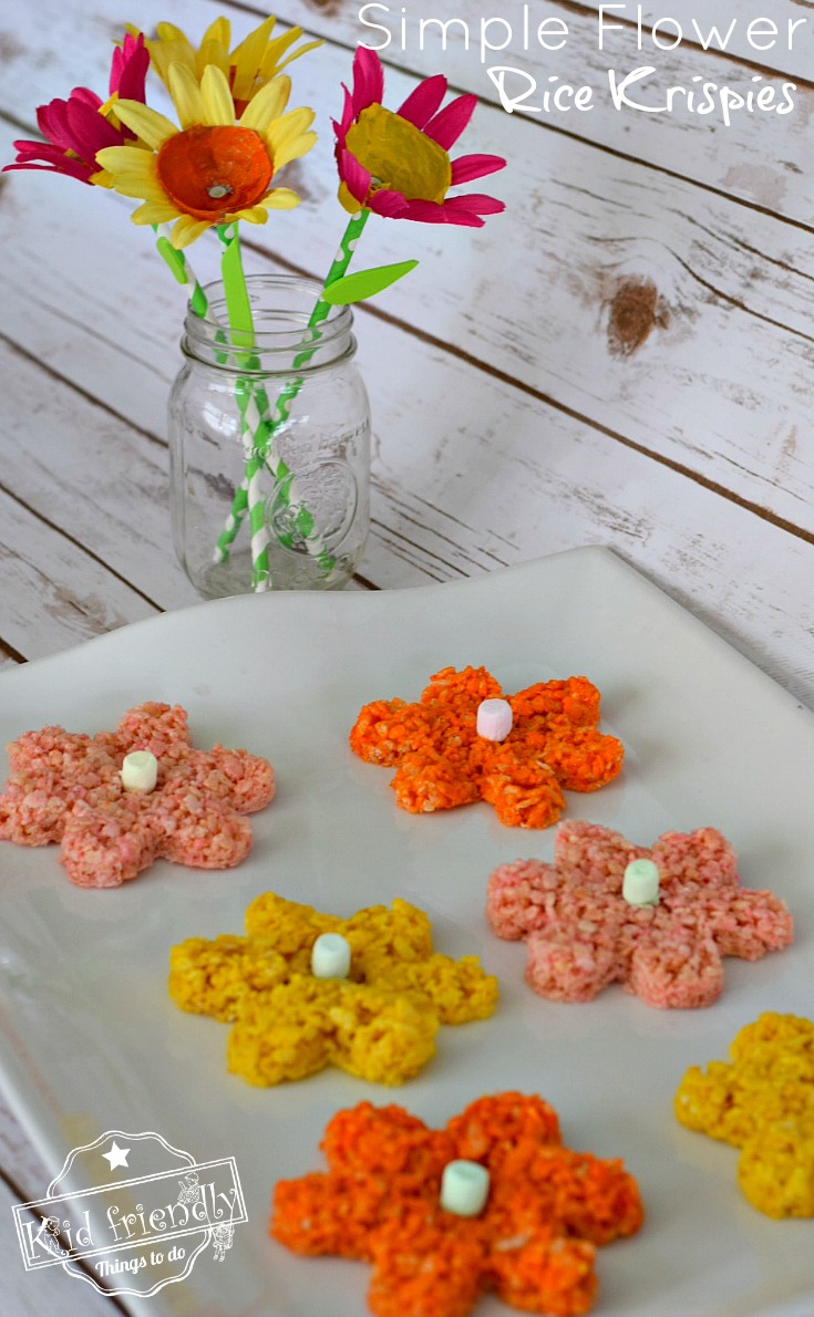 Easy and adorable Flower Rice Krispies treats for spring, Mother's Day, summer, fairy garden parties or tea parties with kids! www.kidfriendlythingstodo.com