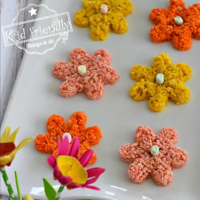 Simple Spring Flowers Rice Krispies Treats Snack