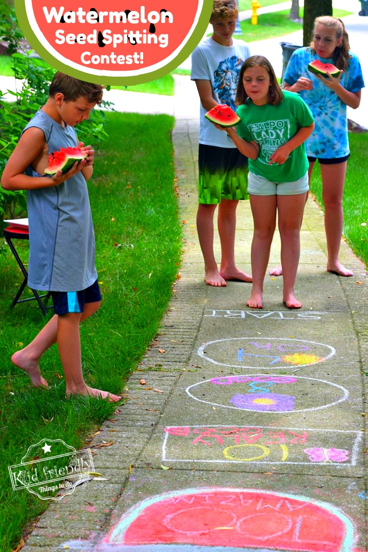 Watermelon Seed Spitting Contest for Kids to Play Outside Summer Game