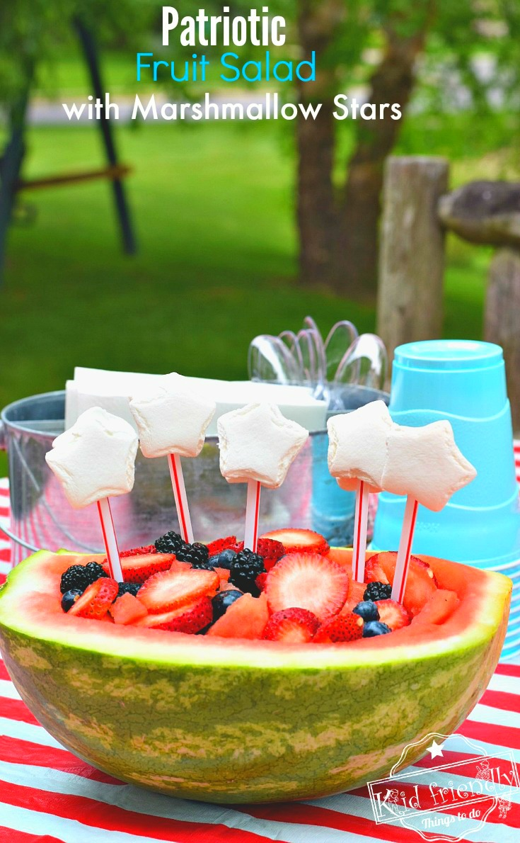 Red, White and Blue Easy to make Patriotic Fruit Salad in a watermelon bowl. Great fun treat for the kids on Memorial Day, Labor Day, Fourth of July or summer picnic parties! www.kidfriendlythingstodo.com