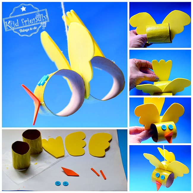 Make a Cute Toilet Paper Tube Bird Craft with Kids - Easy to Make - What a cute craft for spring and summer. Make with preschool or older kids! Hang up for a sweet decoration. Make a Cute Toilet Paper Tube Bird Craft with Kids - Easy to Make - www.kidfriendlythingstodo.com