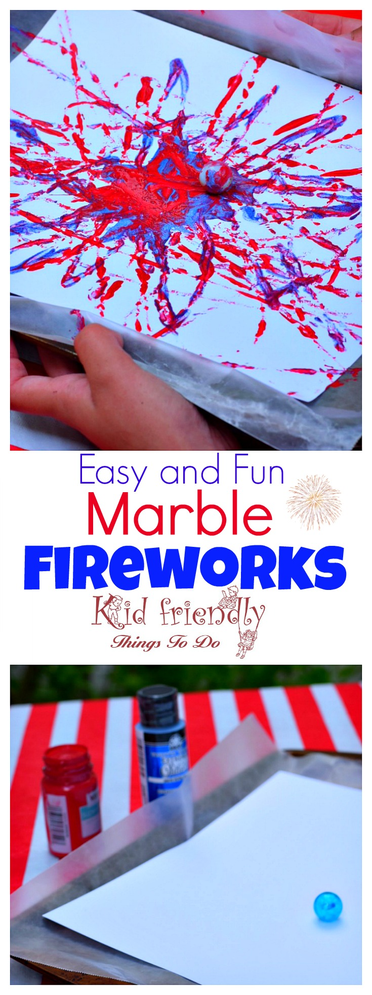 Fireworks Marble Painting Craft Easy and Fun for Kids - Perfect for patriotic holidays like the Fourth of July, Summer Bonfire Nights, and New Year's Eve with the kids! www.kidfriendlythingstodo.com
