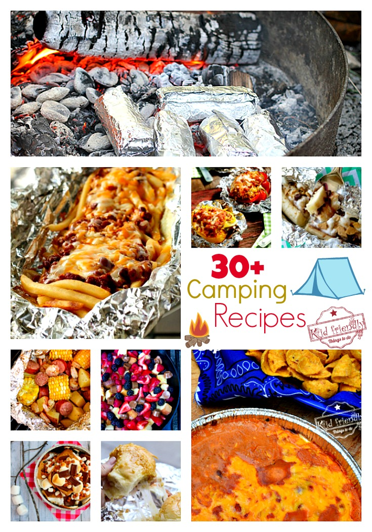 Over 30 of the Best Campfire Recipes for Camping and Backyard Summer Fun - easy breakfast, lunch, dinner, foil packets, dips, and desserts - great make ahead meals and for kids - www.kidfriendlythingstodo.com