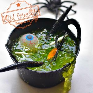 Witch's Brew Glitter Slime Recipe for a Fun Halloween Activity with Kids and Teenagers