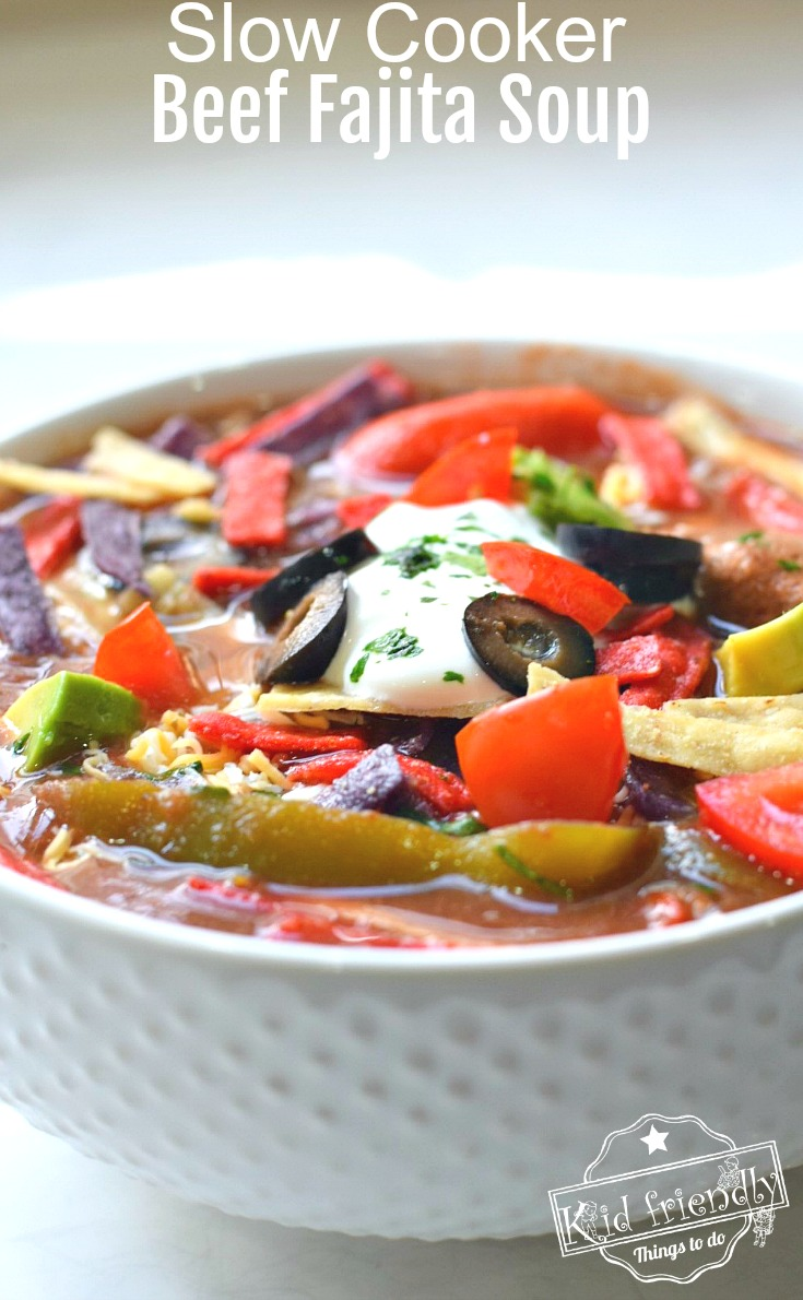 Easy and Delicious Slow Cooker Beef Fajita Soup Recipe - Healthy Beef Stew Meat Crockpot Recipe - www.kidfriendlythingstodo.com