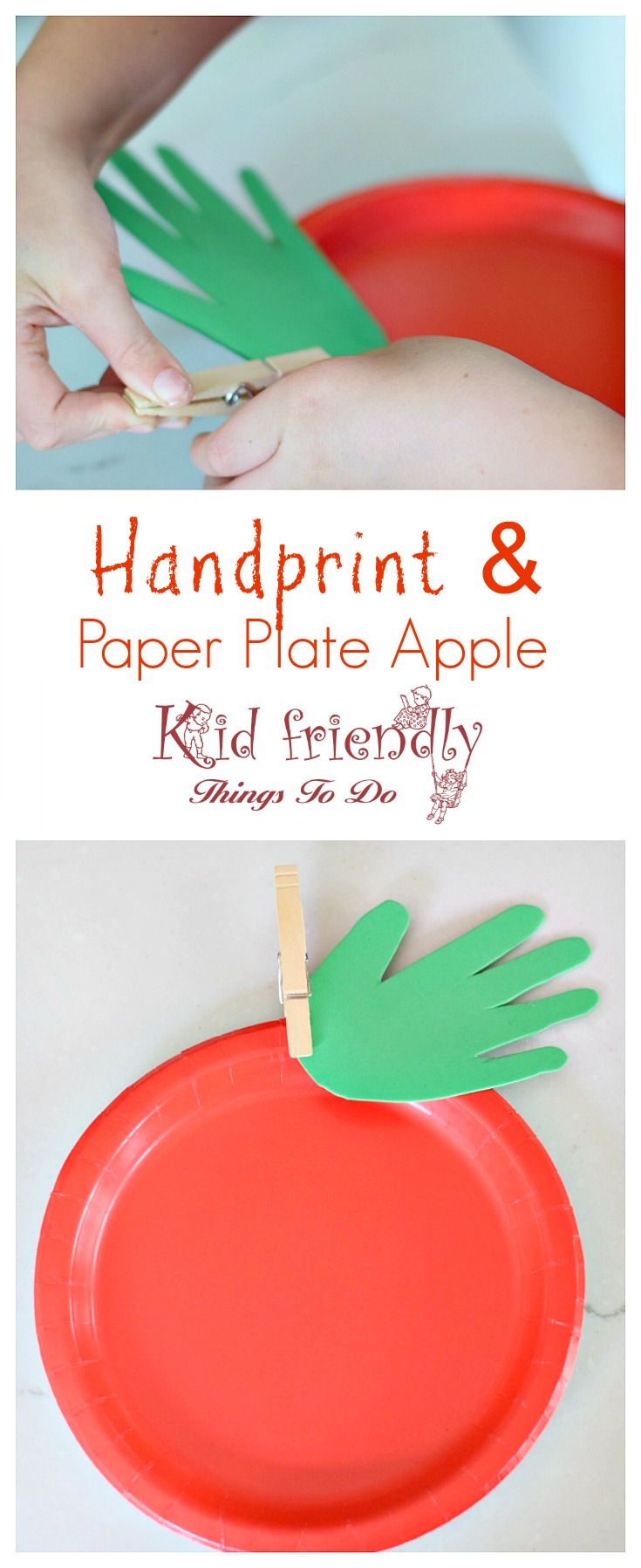 Make a Simple Paper Plate & Handprint Apple with the Kids - Easy and adorable. Great Fall, back to school, & preschool craft - www.kidfriendlythingstodo.com