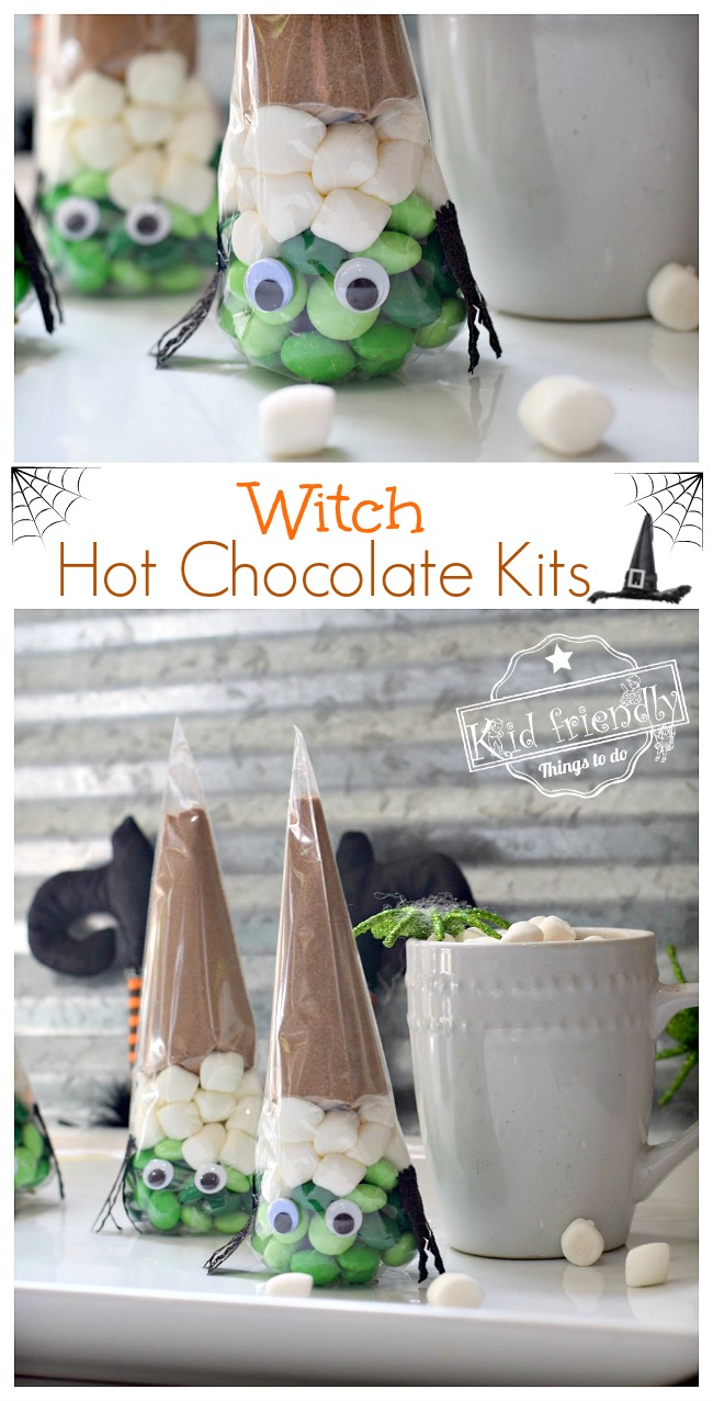Fun and Easy Witch Hot Chocolate Kit Idea for a Kid's Halloween Party - So cute! perfect for fall school party fun food idea or treat at home with the kids - www.kidfriendlythingstodo.com