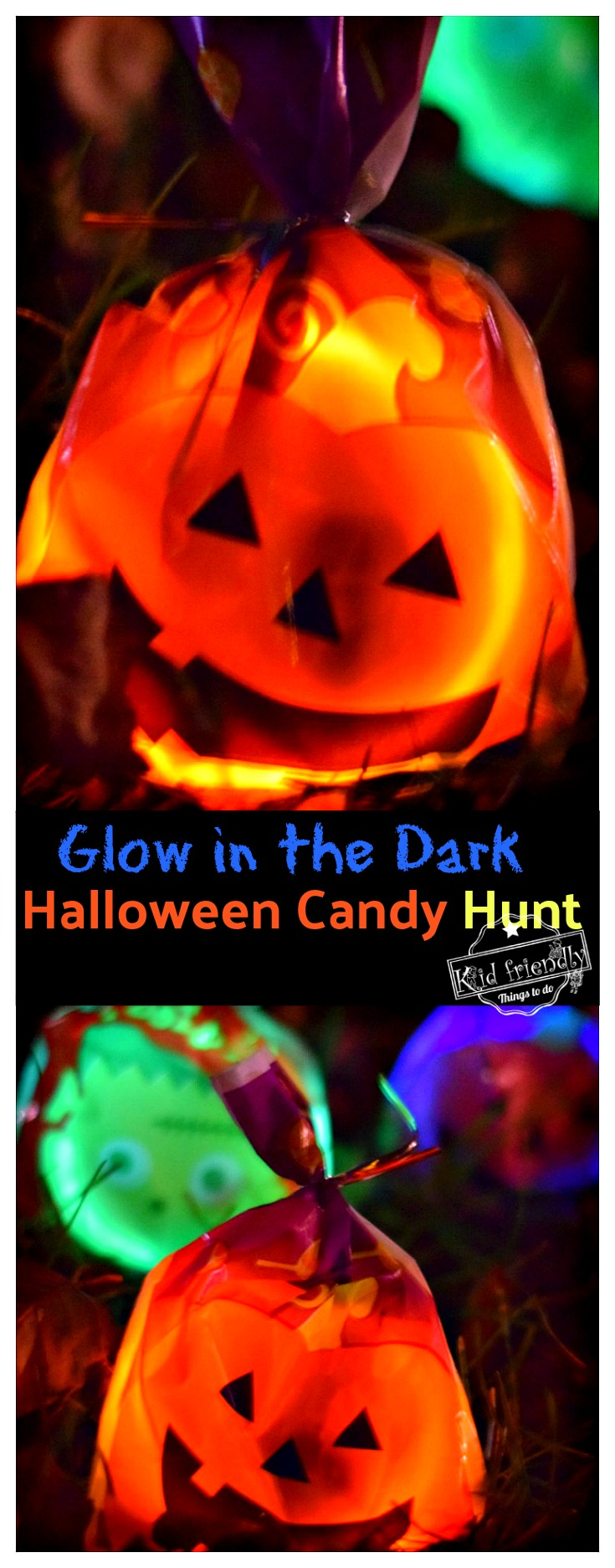 A Glow in the Dark Halloween Candy Hunt Idea for Kids! - Such a fun party idea or just a fun family idea - Light up the night and hunt for candy! Fun DIY game idea! www.kidfriendlythingstodo.com