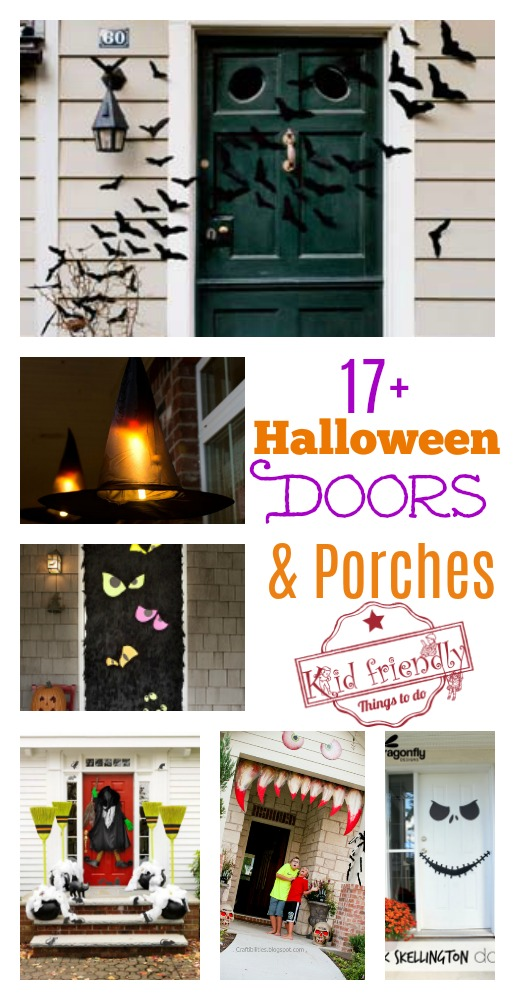 Over 17 Super Fun Halloween Themed Front Door and Porch Ideas - Fun DIY Decorations for Halloween - www.kidfriendlythingstodo.com