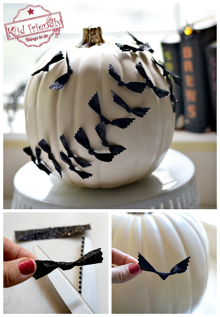 Easy No Carve Pumpkin Idea for Kids to Decorate at Halloween - Bats Swarming over the Moon! beautiful pumpkin for Halloween - www.kidfriendlythingstodo.com