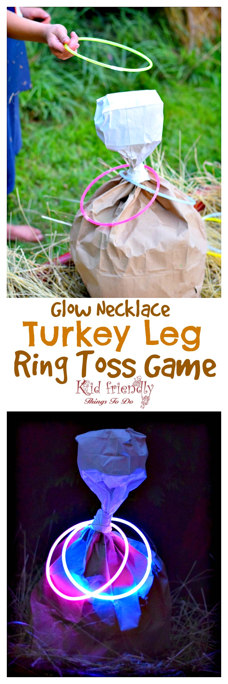 Turkey Leg Ring Toss Thanksgiving Game for Kids and Family - Use glow in the dark necklaces for night time fun! Perfect for preschool and elementary school parties. It's so easy to make and fun for everyone! fall and harvest party idea - www.kidfriendlythingstodo.com