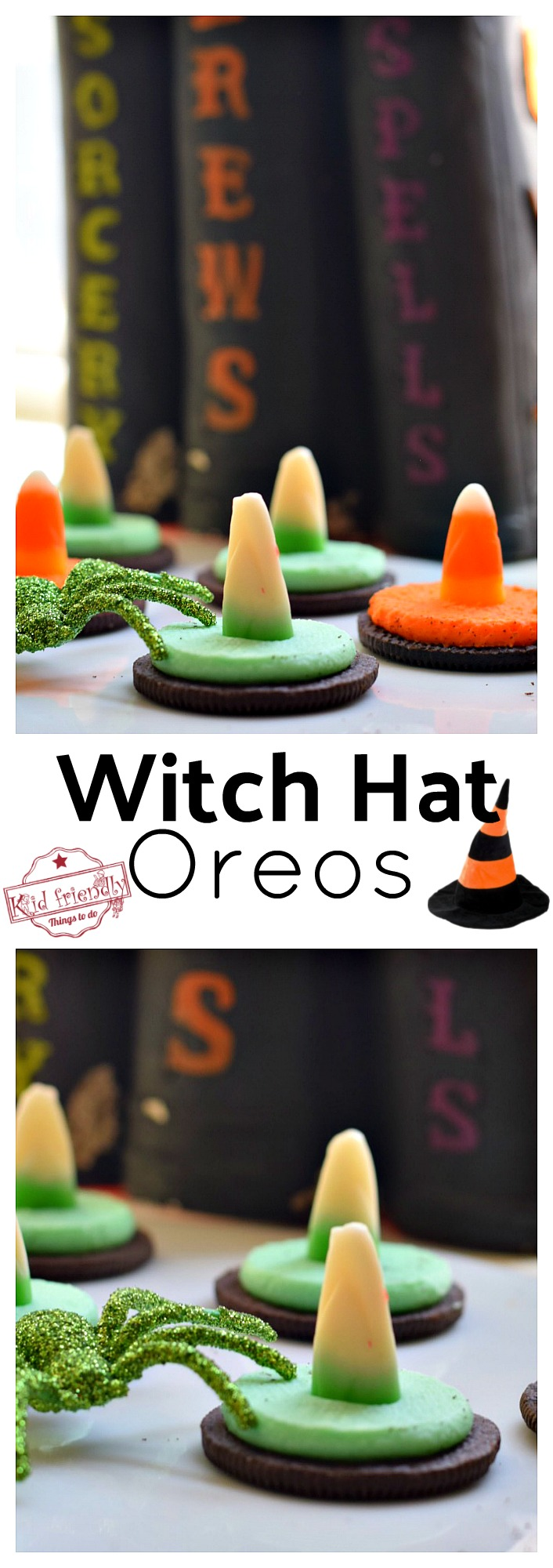 Easy to Make Witch Hat Oreo Cookies for a Fun Kid Halloween Food Idea - So cute and really the easiest idea ever! www.kidfriendlythingstodo.com