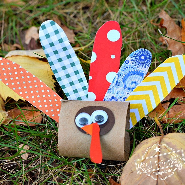 Make a Cute Little Turkey out of a Toilet Paper Tube - Thanksgiving Craft Idea - Easy enough for preschoolers, kindergarten & older kids too - www.kidfriendlythingstodo.com