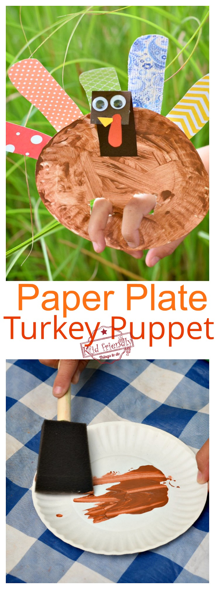 Make A Paper Plate Turkey Puppet for a Thanksgiving Craft with Kids - Homemade & Adorable. For Preschool kids & older kids too -www.kidfriendlythingstodo.com