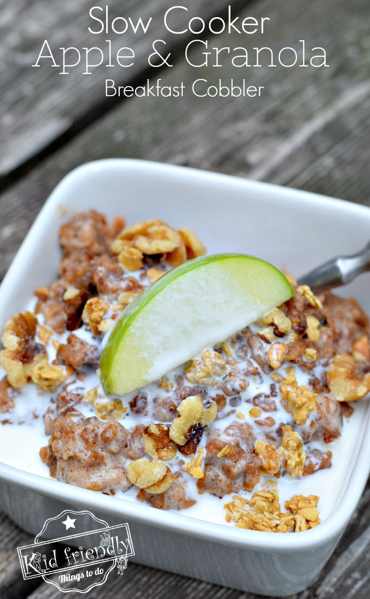 Slow Cooker Apple and Granola Breakfast Cobbler Recipe - Amazing overnight delicious and easy recipe that's healthy too! www.kidfriendlythingstodo.com