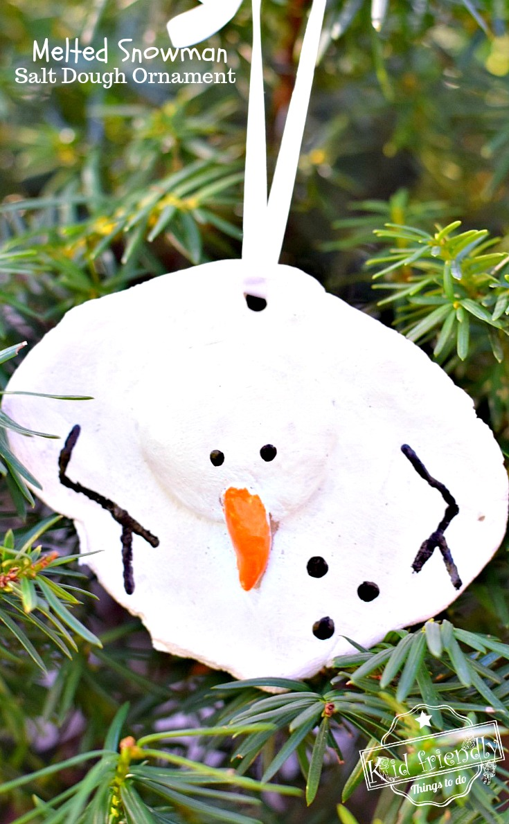 A DIY Melted Snowman and Candy Cane Salt Dough Ornament Idea and ...