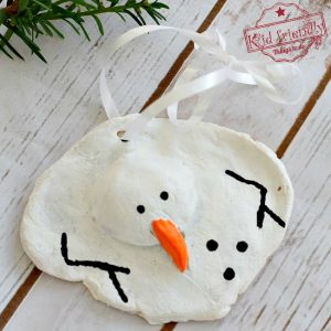 A DIY Melted Snowman and Candy Cane Salt Dough Ornament Idea and Recipe for Christmas with Kids