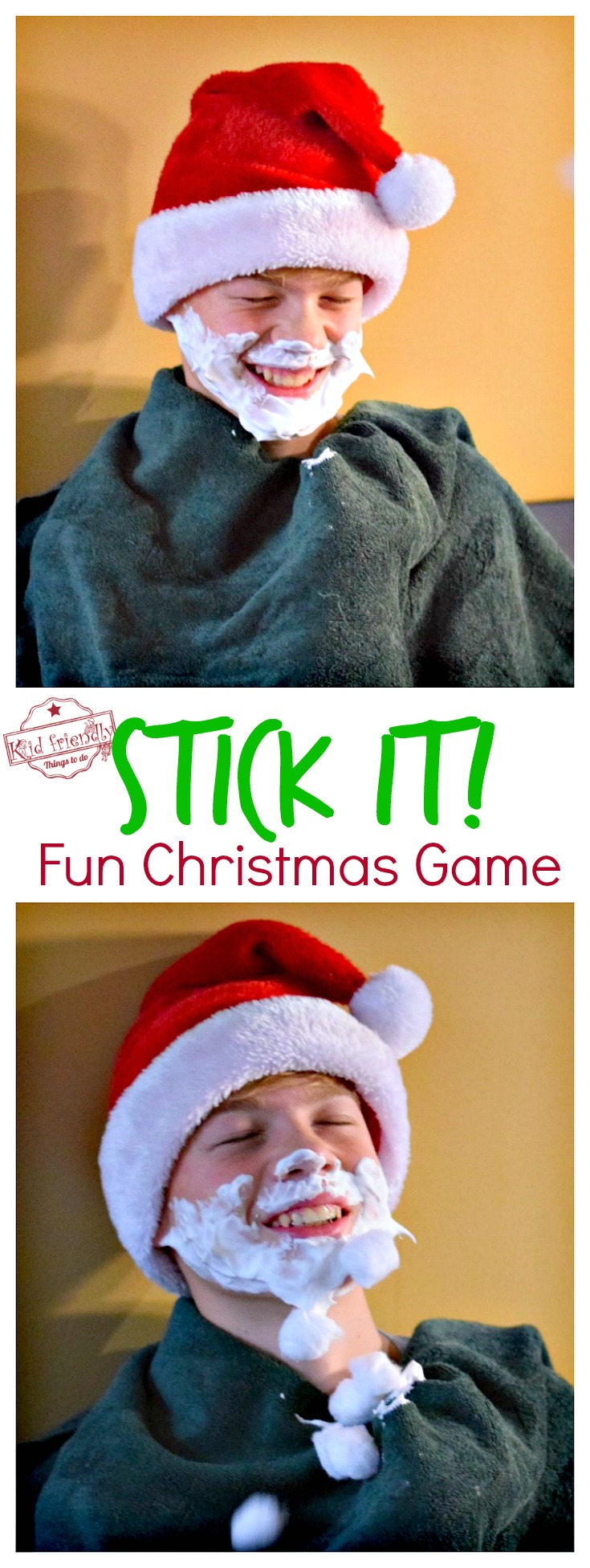 Stick It! A Fun, Cheap and Easy Christmas Game to Play with family, kids, teens and adults - Who can stick the most cotton balls or marshmallows to Santa's beard? Great Minute To Win It game for the whole group! www.kidfriendlythingstodo.com