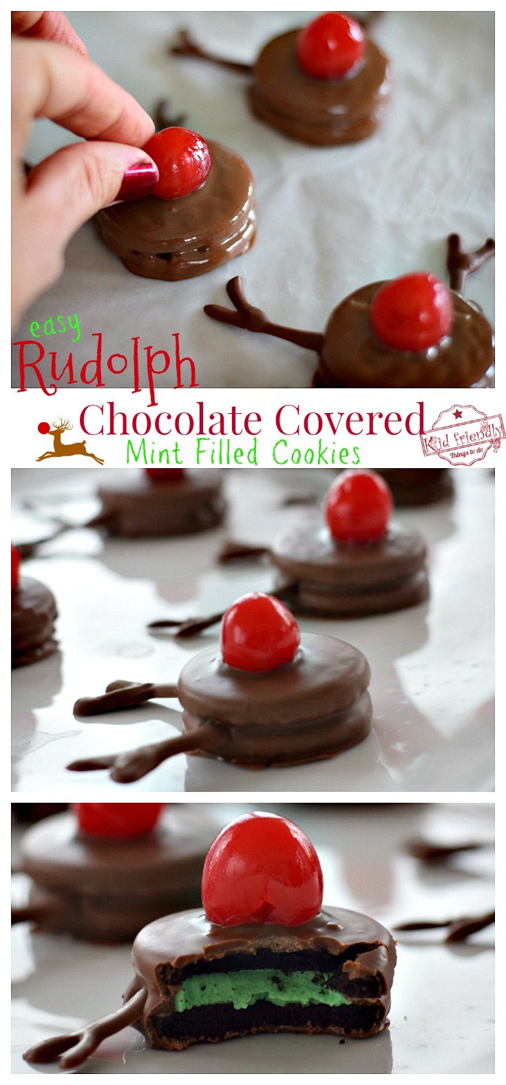 Easy Rudolph Chocolate Covered Mint Stuffed Cookies! - A Cute and Yummy Dessert - Perfect and Simple DIY for Christmas parties or fun food craft with the kids - www.kidfriendlythingstodo.com