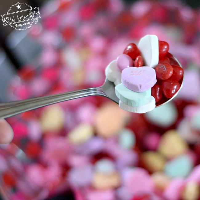 A Valentine Candy Relay Race {A Fun Game for Valentine's Day Parties}