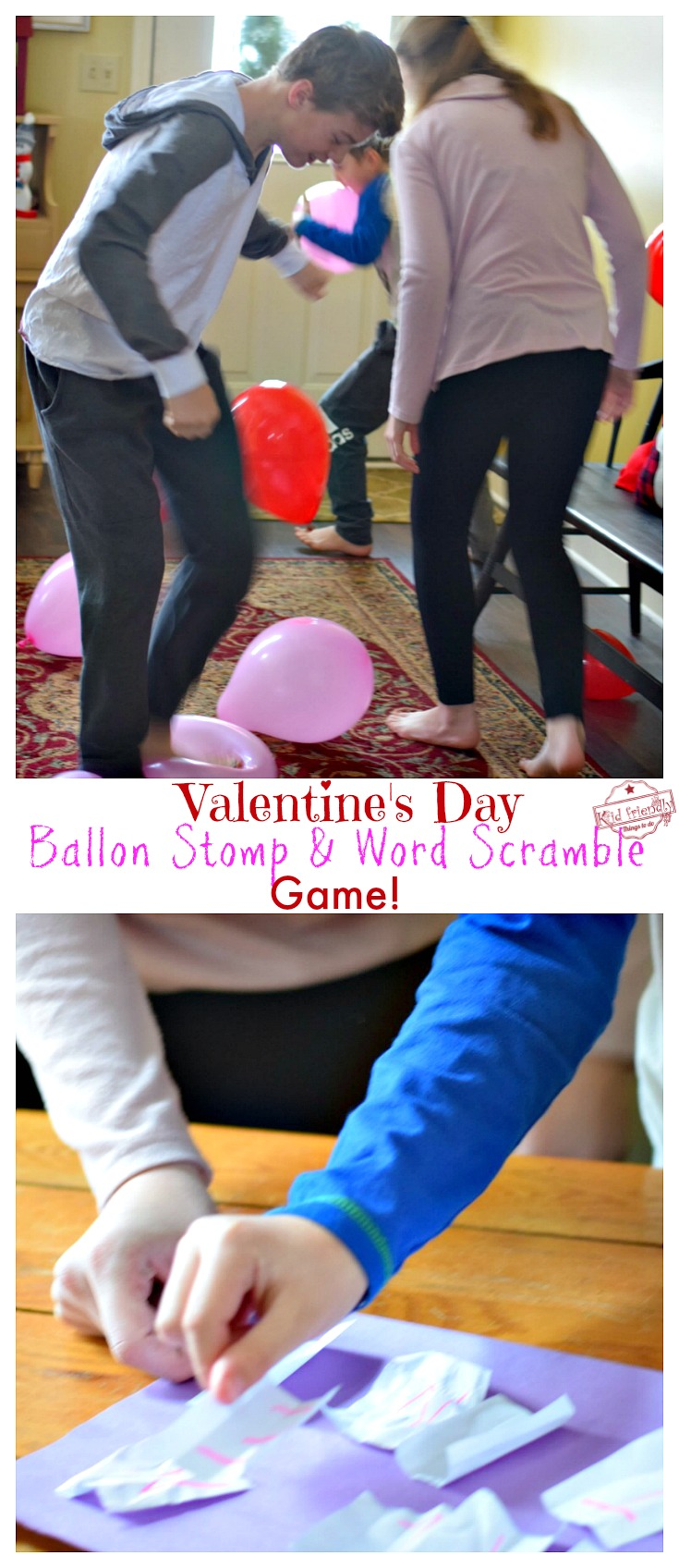 Valentine Balloon Stomp Word Scramble Party Game For Kids and Teens - So easy to set up and kids love it! www.kidfriendlythingstodo.com