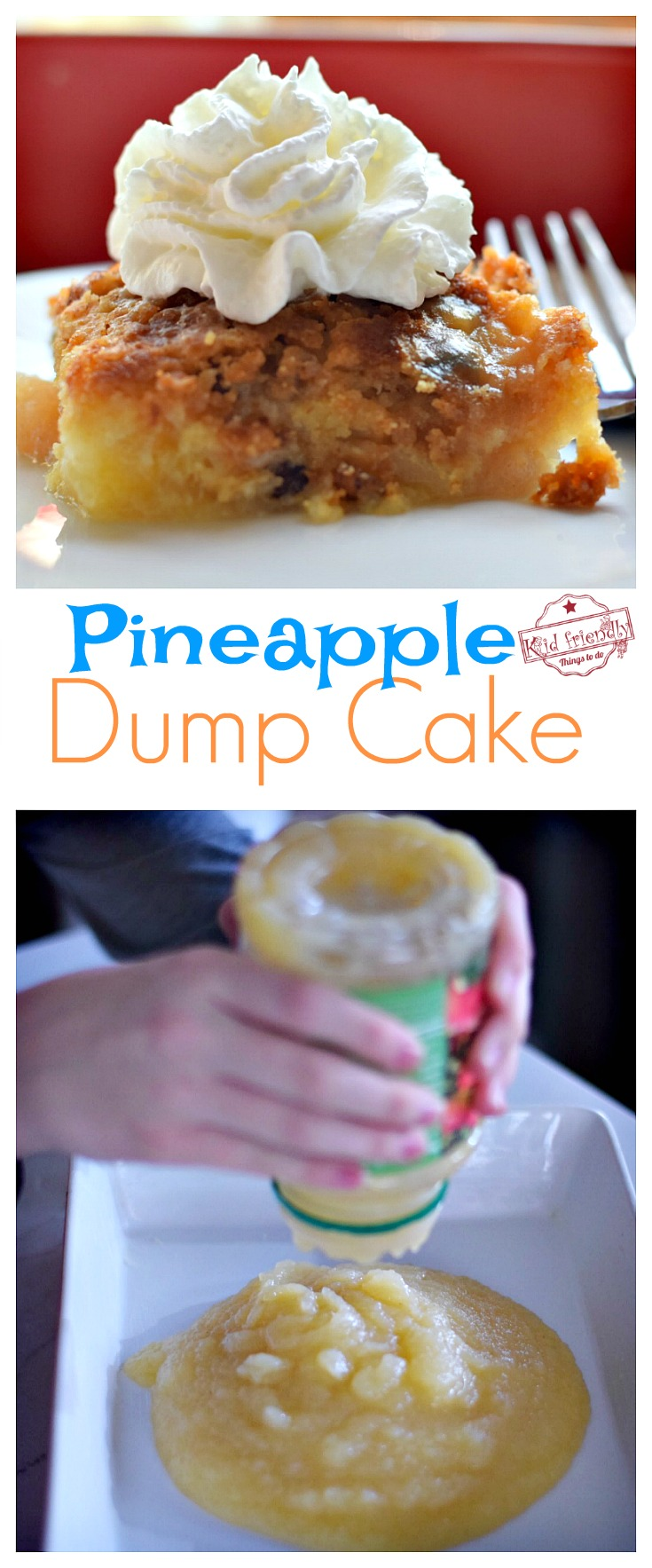 Pineapple Dump Cake Recipe - Easy, Fun and Delicious! Fun to make with the kids - www.kidfriendlythingstodo.com