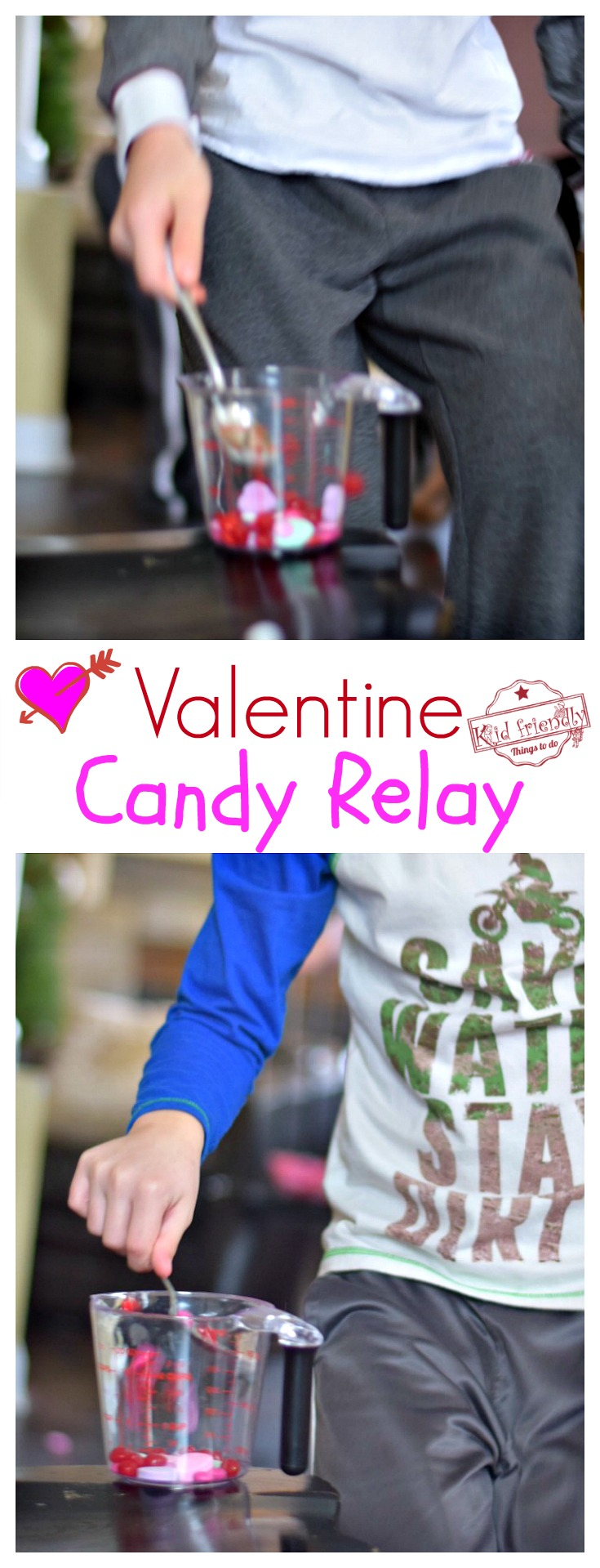 A Valentine Candy Relay Race - A Fun Game for Valentine's Day Parties! - Perfect for Family Game Night, Teens, School and even preschool - When in doubt...go with the classics. The kids always love them! www.kidfriendlythingstodo.com