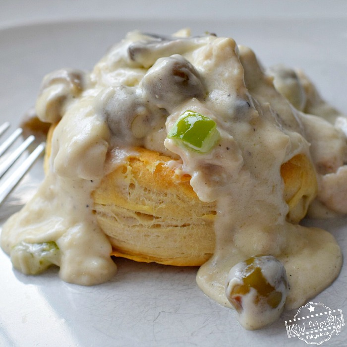 A Chicken Ala King Recipe Served over Biscuits  {An Easy and Delicious Meal}   Kid Friendly Things To Do
