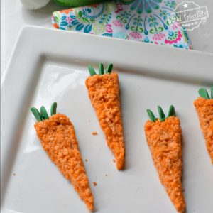 Cute Carrot Rice Krispies Easter Treat for Kids - A n easy to make and Fun Snack Idea for the Easter Sunday dessert table - www.kidfriendlythingstodo.com