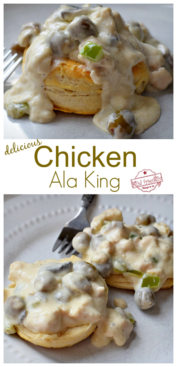 A Chicken Ala King Recipe Served Over Biscuits for an Easy and Delicious Meal - This recipe comes from an old church cookbook and is absolutely AMAZING! www.kidfriendlythingstodo.com